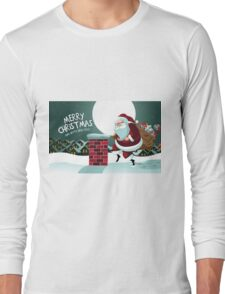 Cartoon Claus sneakily delivering gifts up on the rooftop Long Sleeve T-Shirt