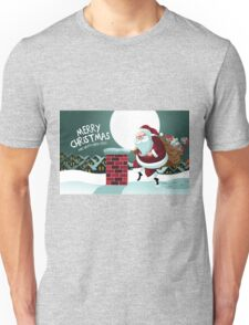 Cartoon Claus sneakily delivering gifts up on the rooftop Unisex T-Shirt