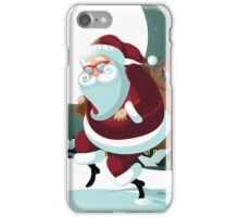 Cartoon Claus sneakily delivering gifts up on the rooftop iPhone Case/Skin