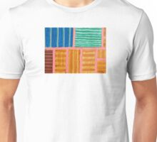 Beautiful Stripes Pattern within a Pink Grid  Unisex T-Shirt