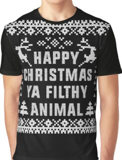 Happy Christmas Ya Filthy Animal T-Shirt, Ugly Christmas Sweater Gift T-Shirt Graphic T-Shirt