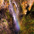 Waterfall and rainbow, Mt Lofty Ranges by indiafrank