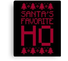 Santa's Favorite Ho T-Shirt, Funny Mens Womens Christmas Gift, Ugly Christmas Sweater Canvas Print