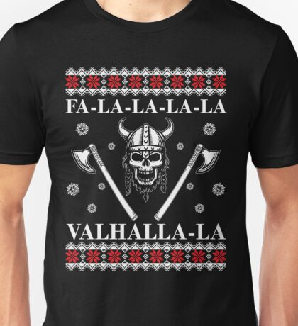 Valhalla Ugly Christmas Sweater, Men Women Viking T-Shirt Unisex T-Shirt