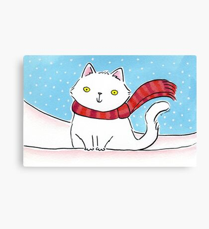 White Cat in the Snow Canvas Print