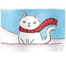 White Cat in the Snow Poster