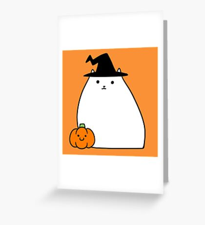 White Witch Cat Greeting Card