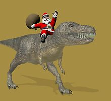 Santa Claus Riding A Trex by Mythos57