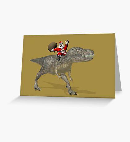 Santa Claus Riding A Trex Greeting Card