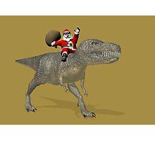 Santa Claus Riding A Trex Photographic Print
