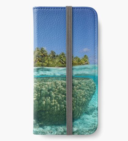 Tropical island above and underwater with coral iPhone Wallet/Case/Skin