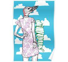 woodpecker and caterpillar Poster