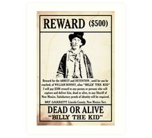 Billy the Kid Wanted Poster Art Print