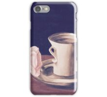 Tea Cup and Pink Flower Still Life iPhone Case/Skin