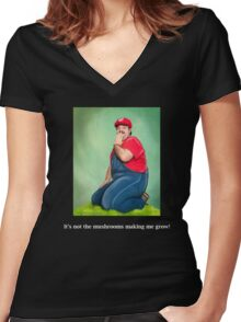 SexyMario MEME - It's not the mushrooms making me grow!  Women's Fitted V-Neck T-Shirt