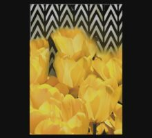 Watercolor Yellow Tulips with Chevron Kids Clothes