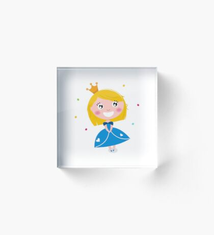 Happy smiling cute Blond princess with Crown : Blue Acrylic Block