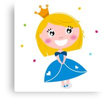 Happy smiling cute Blond princess with Crown : Blue Canvas Print