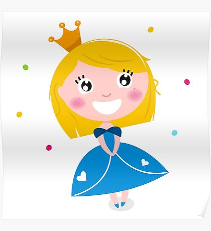 Happy smiling cute Blond princess with Crown : Blue Poster