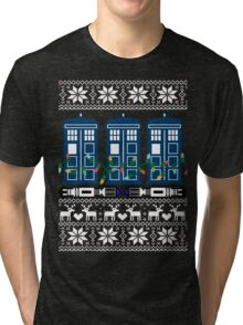 Doctor who christmas ugly sweater version Tri-blend T-Shirt