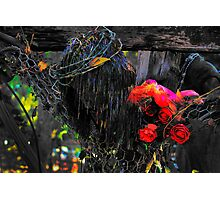 Wire Jesus And Silk Flowers 2 Photographic Print