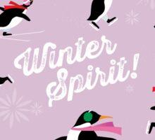 Winter Spirit - Ice Skating Penguins on pink Sticker