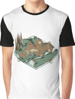 Landscape low poly style.3D Rendering Graphic T-Shirt