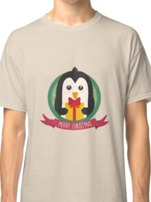 Penguin with Christmas Present Classic T-Shirt