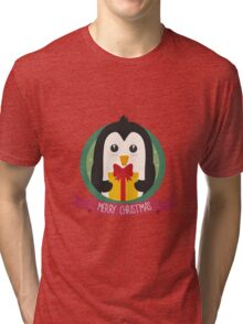 Penguin with Christmas Present Tri-blend T-Shirt