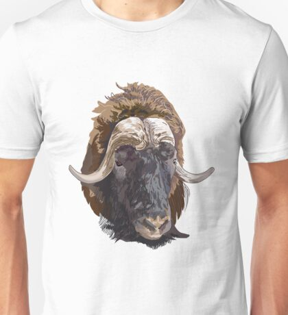 Hand drawn vector illustration of a musk ox s head Unisex T-Shirt