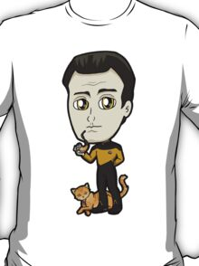 Star Trek TNG - Lieutenant Commander Data with Spot Chibi T-Shirt
