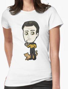 Star Trek TNG - Lieutenant Commander Data with Spot Chibi Womens Fitted T-Shirt