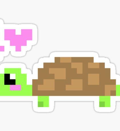 Cute 8 Bit Turtle Love Sticker
