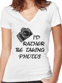 I'd Rather Be (1 of 2) Women's Fitted V-Neck T-Shirt