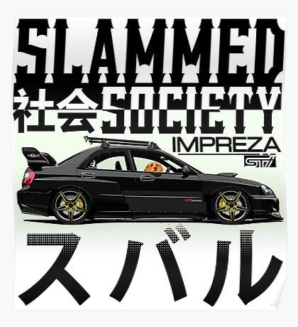 Subaru Impreza WRX STI Rocket Bunny - Golden Retriever (Black) Poster