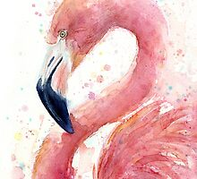 Pink Flamingo Watercolor  by OlechkaDesign