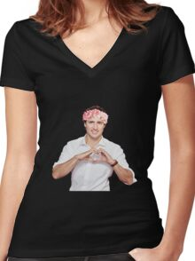 Justin Trudeau Flower Crown Women's Fitted V-Neck T-Shirt