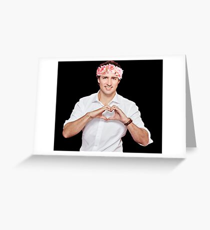 Justin Trudeau Flower Crown Greeting Card