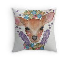 Woodland Deer Illustration Throw Pillow
