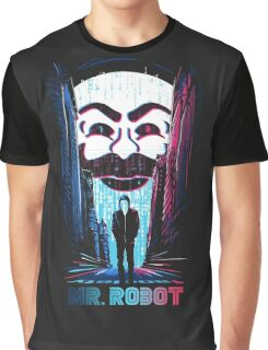 Mr. Robot in Red & Blue Graphic T-Shirt