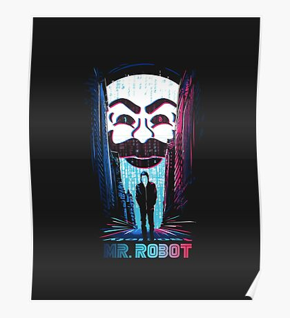 Mr. Robot in Red & Blue Poster