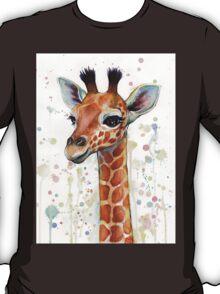 Baby Giraffe Watercolor Painting T-Shirt