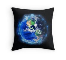 Planet Earth American World Globe Throw Pillow