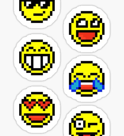 Mostly Happy Moji - Pixels Sticker