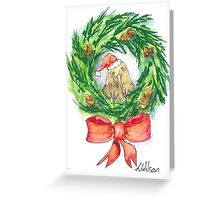 Kiwi sitting in Christmas Wreath  Greeting Card