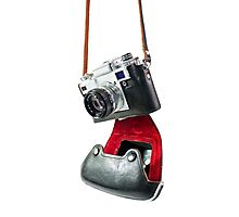 camera in red-black case Photographic Print