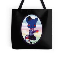 Blue Kitty Drinking Tea Tote Bag