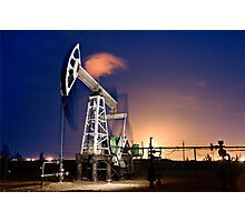 Oil Rig at night. Photographic Print