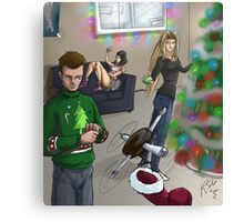 Holiday Scene of Superhero Downtime Canvas Print