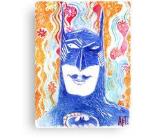 The fabulous Batman on a floral background.  Canvas Print